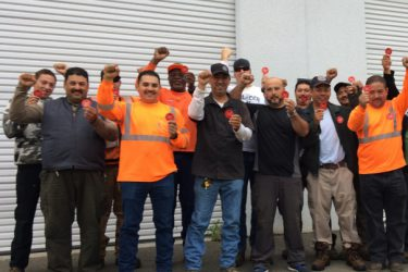 "Ten thousand members of the Brotherhood of Maintenance of Way Employees participated in a national ""Healthcare not Wealthcare"" sticker day June 8. They're fighting attempts by profitable Class 1 railroad operators to impose major health care concessions. Photo: BMWE"